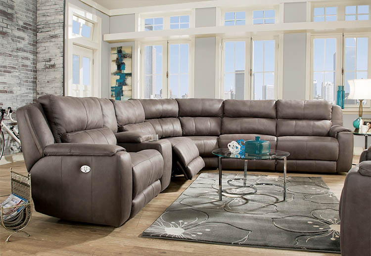 Southern Motion Avalon Sectional Space Saving Wall Hugger Recliner
