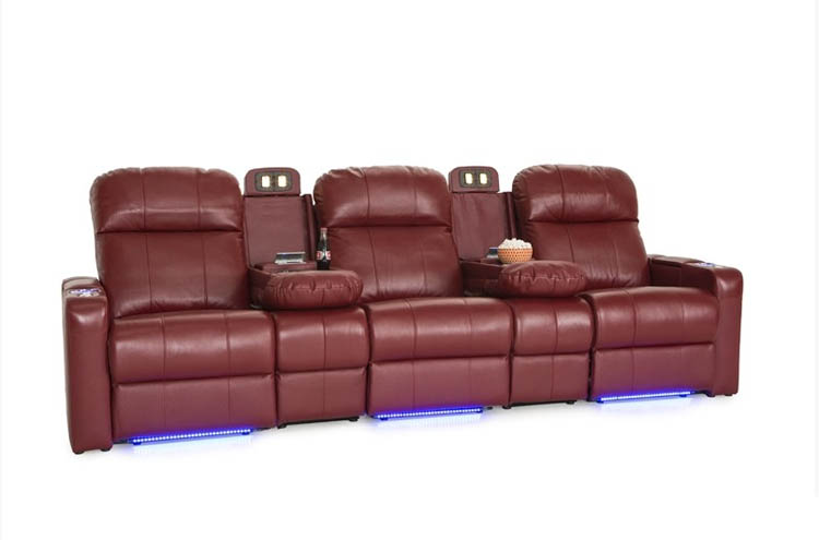 Top Grain Leather Ambient Lighting USB Charging Row of 3, Brown Lighted Cupholders Seatcraft Venetian Home Theater Seating Power Recline in-Arm Storage